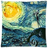 Starry Night and the Nightmare Before Christmas Printed Cotton Zippered Pillow Case, 18-Inch