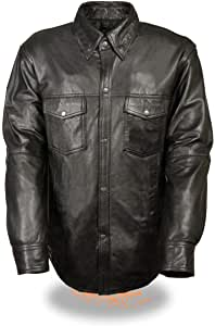 Milwaukee Leather LKM1600 Men's Black Lightweight Casual Style Leather Shirt with Gun Pocket - X-Large