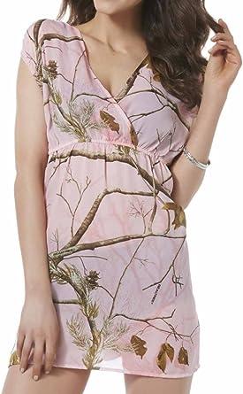 REALTREE Women/'s PINK CAMO short sleeve t-shirt v-neck NWT 100/% Polyester