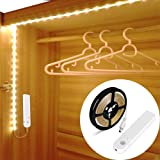OriFiil 3m Tira LED Luces, Recargable Luz de Armario con Sensor de Movimiento, Luz Nocturna Regulable, Auto on/off para…