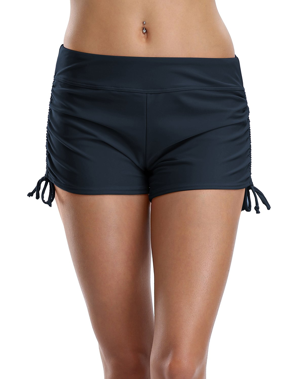 Sociala Ladies Swim Shorts Boyleg Tankini Bottom High Waist Swim Bottom Navy S
