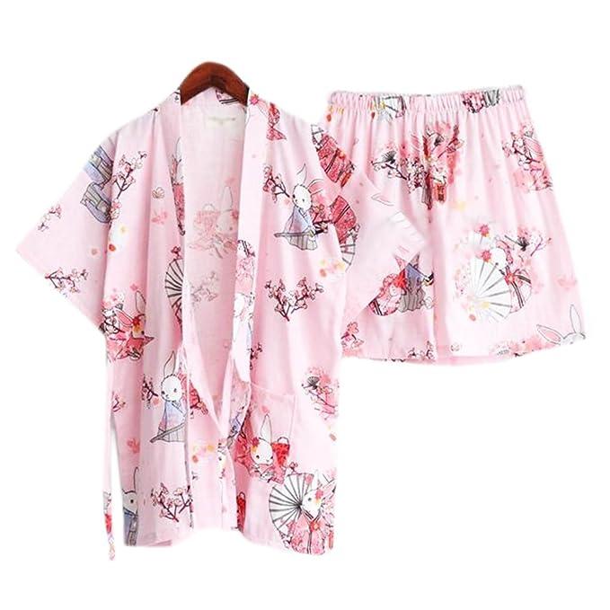 LUNA VOW Las mujeres del estilo japonés adelgazan la bata de algodón pijama Kimono camisa corta