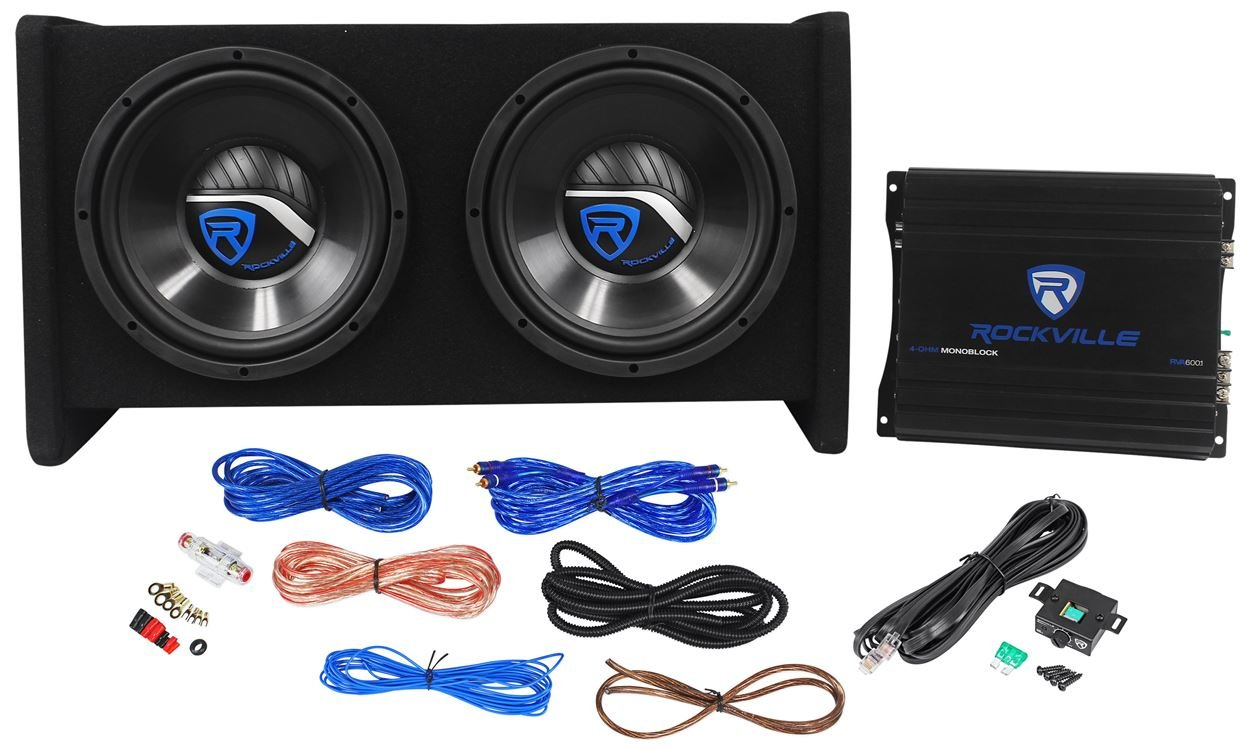 Rockville RV10.2A 1000w Dual 10'' Car Subwoofer Enclosure+Mono Amplifier+Amp Kit
