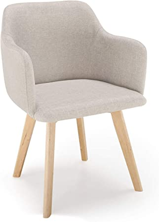 Menzzo Chaise Style scandinave Candy Tissu Beige: