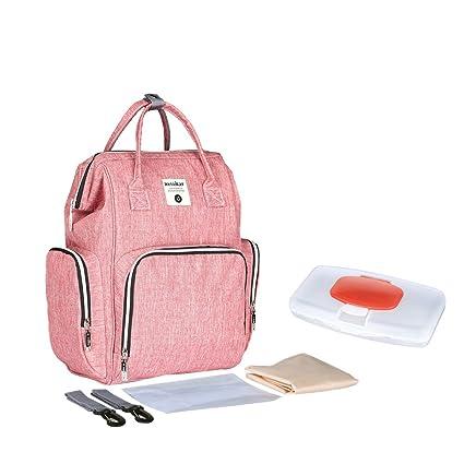 Mochila cambiador de pañales impermeable, amplia mochila abierta con cambiador y correas para cochecito para