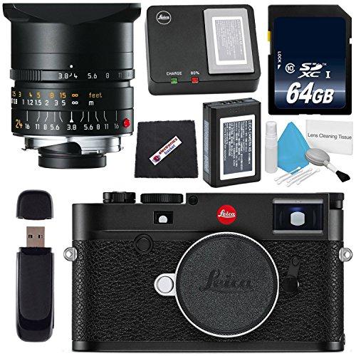 Leica M10 Digital Rangefinder Camera (Black) + Leica Elmar-M 24mm f/3.8 ASPH. Lens + 64GB SDXC Card + Card Reader + Microfiber Cloth Bundle