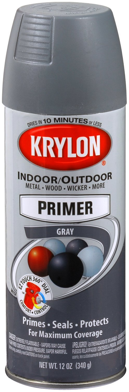 Krylon 51318-6 PK (K05131807-6 PK) All-Purpose Gray Interior/Exterior Decorator Primer - 12 oz. Aerosol, (Case of 6)