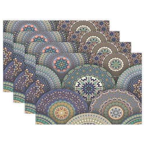 XiangHeFu Placemats Art Vintage Mandala Gorgrous Floral Pattern 12x18 inch Heat Resistant Set of 4 Non Slip for Dinning Table (Rattan Sale Dining Set Vintage)