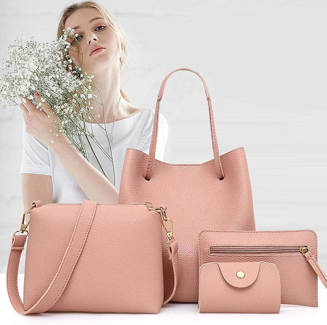 Sioneit Nouveau sac à main de sac à bandoulière en cuir artificiel de femmes de mode Sacs portés main Rose