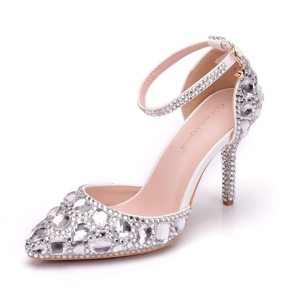 XLY Damen Strass Hochzeit Schuhe, Weiße Stiletto Spitze Große High Heels Brautschuhe
