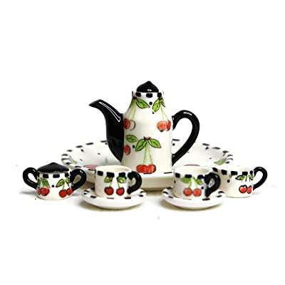 Unique Design Dollhouse Miniature Gloss Finish Porcelain Tea Set, 10 pcs Set, Cherry Design, Hand-Painted, Miniature Fairy Garden Accessories, DIY Charm Pendant Jewelry Supplies.: Toys & Games