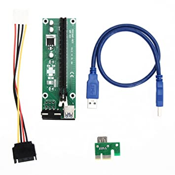 USB 3.0 PCI-E Express 1x to 16x Extender Riser Card SATA Adapter Power Cable US