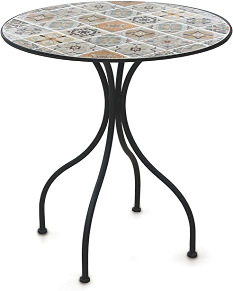 Tavolo Da Giardino Tondo Ferro.Soriani Tavolo Da Giardino Tondo O70 Cm In Ferro Con Mosaico Rodi
