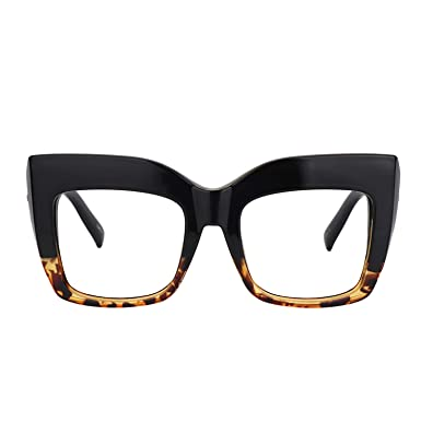 e8fdeac1cb Image Unavailable. Image not available for. Color  Zeelool Vintage  Oversized Thick Cat Eye Glasses for Women with Clear Lens Alberta ...