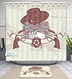 Unique Custom Bathroom 2-Piece Set Western Insignia And Banner With Two Guns Hat Pistols Poker Ace Cowboy Texas Chesnut Brown Slate Shower Curtains And Bath Mats Set, 71''Wx71''H & 31''Wx20''H