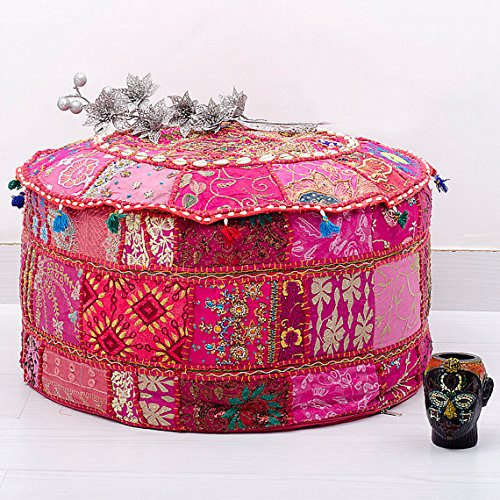 Bohemian Patch Work Ottoman Cover Traditional Vintage