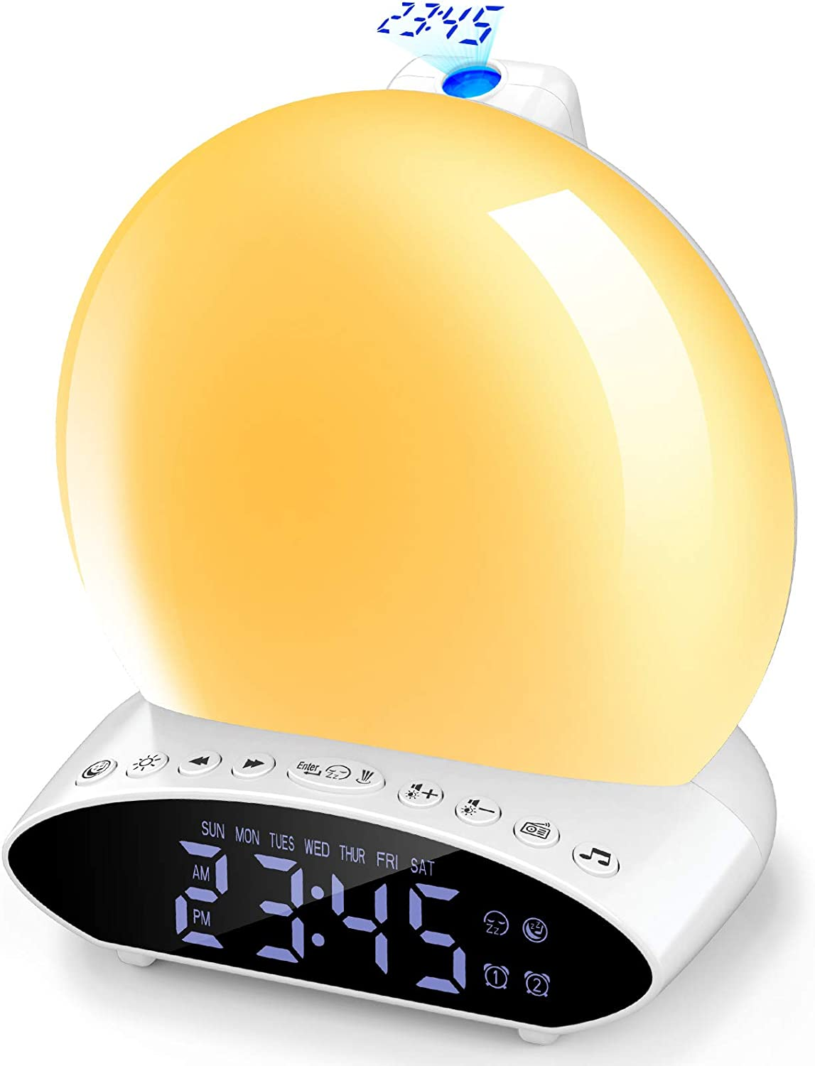 Sunrise Alarm Clock with Projection - Wake Up Light for Kids, Sunlight Radio Clocks Bedrooms,Heavy Sleepers Dual Alarms,Snooze ,FM Radio,7 Colors ,20 Natural Sounds