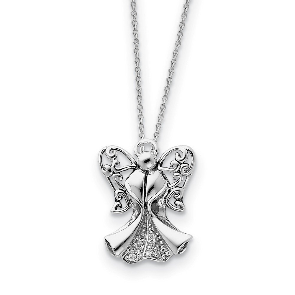 Plata de Ley CZ envejecido ángel de fuerza 18 in collar