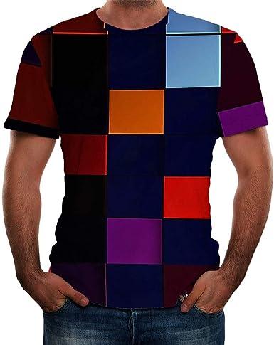 Camisas para Hombre de Manga Corta de Colores, Divertidas Camisas 3D de Color con impresión Redonda y Cuello Corto Mulitcolor 3XL: Amazon.es: Ropa y accesorios