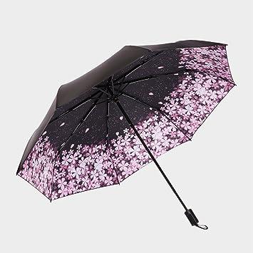 ZHDC® Paraguas, flores de cerezo románticas Ms mujeres LadyExtended Fold Sombrilla sombrilla (Color
