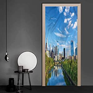 Front Door Sticker USA, Schuylkill River Philadelphia Removable Wallpaper Wall Decal for Home Room Decoration 30.3 x 78.7 Inch