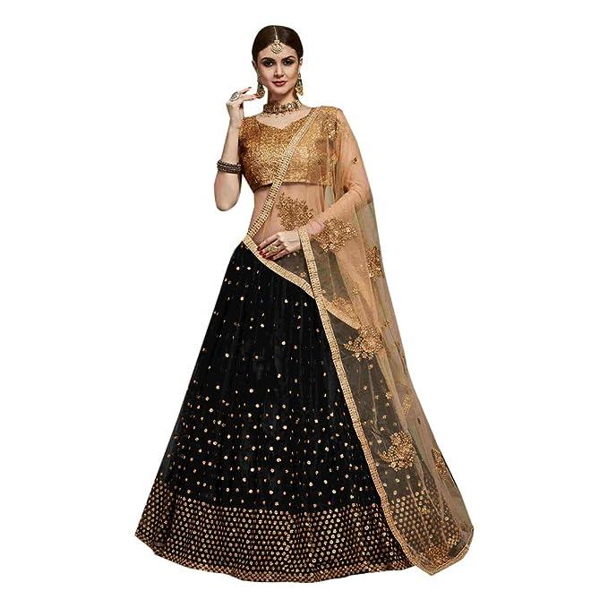 8520 Black Designer Bridal Net Lehenga Choli Gharara Dupatta Skirt ...