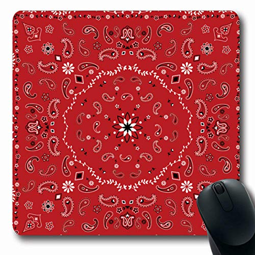 Ahawoso Mousepads for Computers Ladies Bandanna Red Paisley Vine Bandana Istic Pattern Vintage Black Border Bright Design Oblong Shape 7.9 x 9.5 Inches Non-Slip Oblong Gaming Mouse Pad
