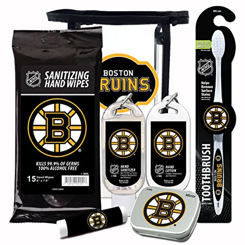 NHL Boston Bruins 6-Piece Fan Kit with Decorative Mint Tin, Toothbrush, Hand Sanitizer, SPF 15 Lip Balm, Hand Lotion, Sanitizer Wipes. NHL Hockey Gifts for Men and Women