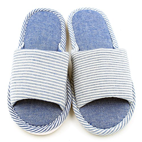 Women's Linen Washable Slippers Travel Code Foam Hotel Stripe Bedroom For Memory House Cotton Sunshine Blue Spa w5xXFqw8