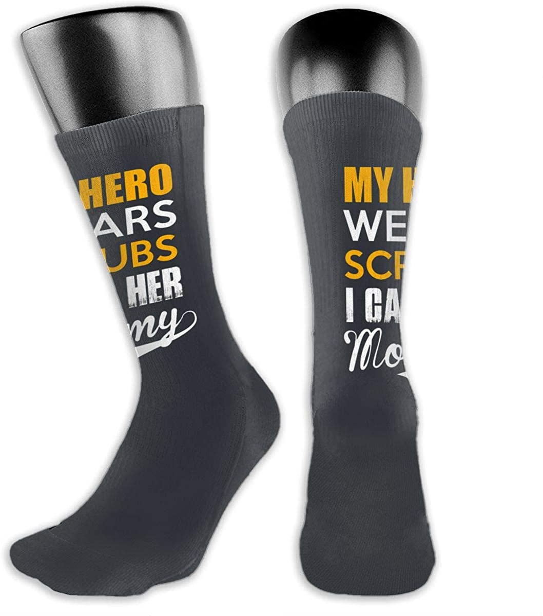 My Hero Wears Scrubs Mommy Men Women Casual Non Slip Socks Athletic Compression Running Socks