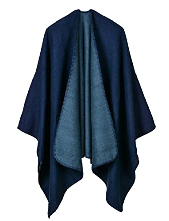 cf93402920 Hycurey Women Winter Knitted Faux Cashmere Poncho Capes Plus Size Shawl  Cardigans Sweater Coat Navy Free at Amazon Women s Clothing store