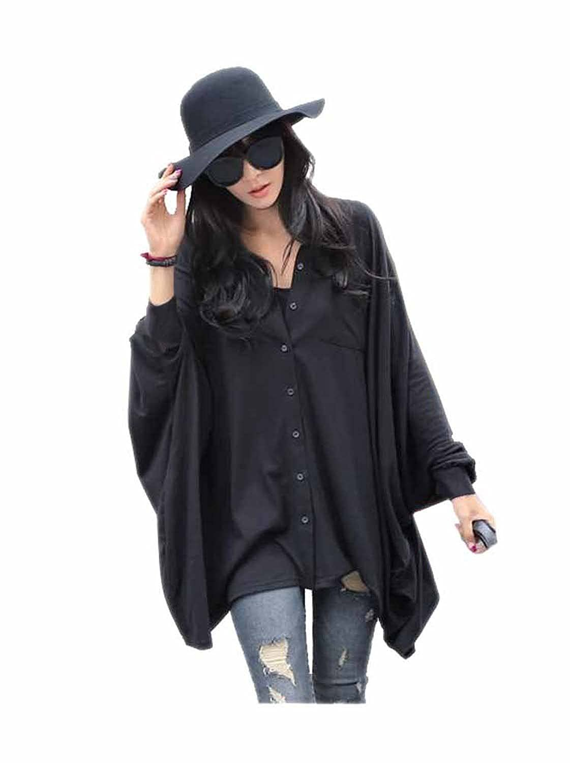 7a15d4ea0d0 ARJOSA women s cotton spandex blend   or chiffon made soft and large button  down bawing sleeve shirt blouse