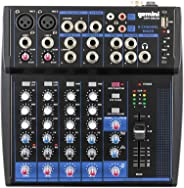 Gemini GEM-08USB Compact 8 Channel Bluetooth Audio Mixer With USB, Portable DJ Sound Controller Interface