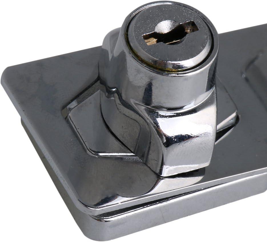 Sicherheits/überfalle abschlie/ßbar 7.8CM L/änge Silber Zinklegierung 90 Grad Verschl/üsselt Hasp Schloss Drehung Knopf Schl/üsselschloss Haspe f/ür T/üren Schrank Satz 2 st/ück