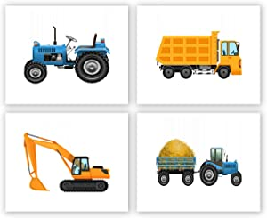 4 Set-Trucks Art Prints,Tractor Decor for Boys Room, Boys Truck Tractor Art Print,very suitable for decoration posters of children's rooms, playgrounds and kindergartens, frameless (8X10 inches)