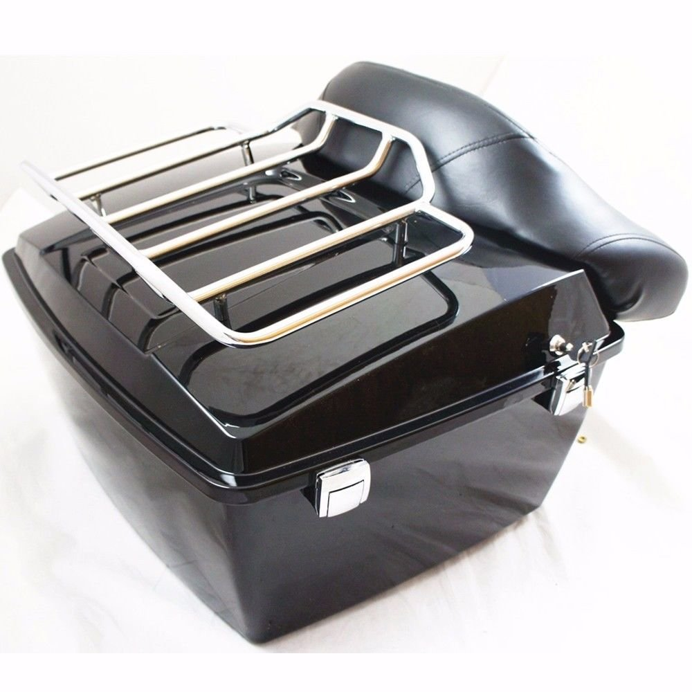 Harley Tour Pack Pak Trunk Luggage For Road King Electra Glide 97-08 W/ Top Rack by ECOTRIC (Image #1)