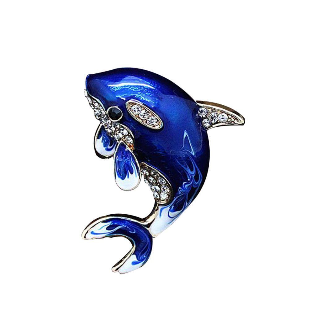 Sunliy dolphin Brooch Pin Scarves Shawl Clip Scarf Buckle Clothing Decoration Jewellery Broochs Pins for Girls and Ladies