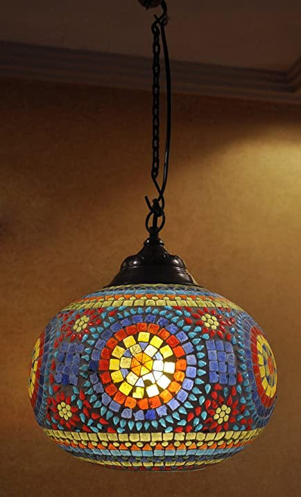 Ethnic handmade glass decorative hanging lamp ceiling lampshade ethnic handmade glass decorative hanging lamp ceiling lampshade mozeypictures Image collections