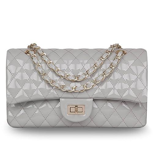 Ainifeel Women s Patent Leather Quilted Handbag Purse Cross Body Bag  Shoulder Handbag (Light grey larger 47388f73497c1