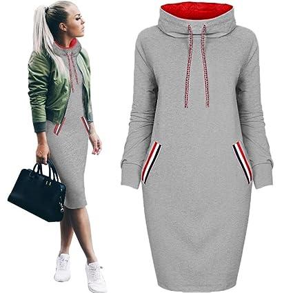 Gotd Women Sweatshirt Dress Casual Winter Shirt Dress Ladies Long Sleeve  Mini Dress Autumn Plus Size Oversize (L, Gray)