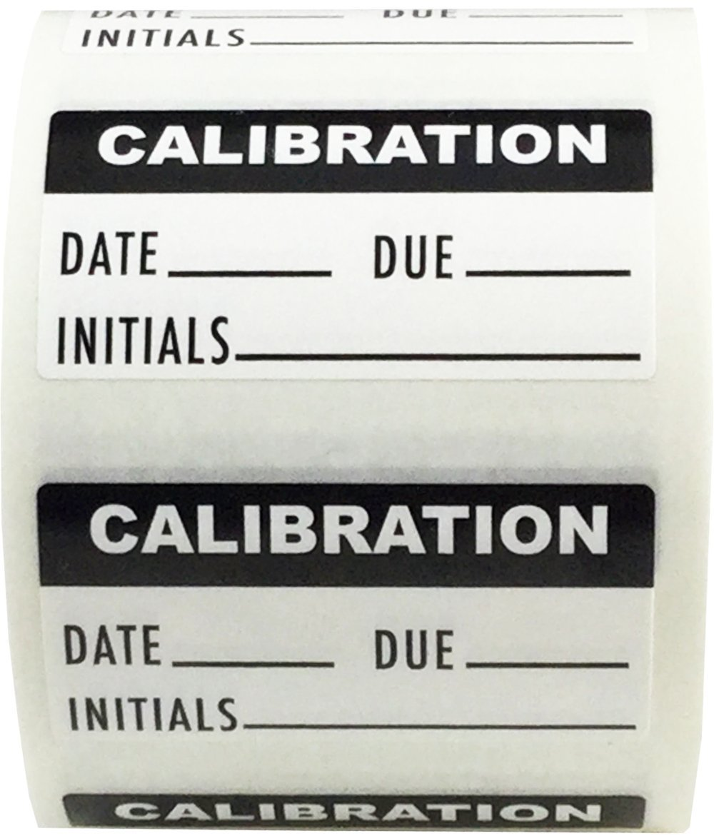 White and Black Calibration Labels, 3/4 x 1 1/2 Inch in Size, 500 Adhesive Stickers on a Roll