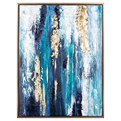 Ashley Furniture Signature Design - Dinorah Abstract Wall Art - Contemporary - Teal Blue