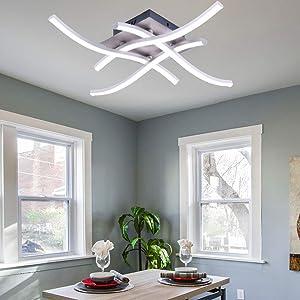 ALLOMN Lámpara de Techo LED, Lámpara de Araña Lámpara de Techo de Diseño Curvo Moderno con 4 Luces Onduladas para Sala de Estar, Dormitorio, Comedor (28 W, 4 Luces, Blanco Frío)
