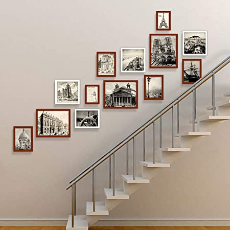 WTT Marco de Fotos Conjunto de Pared Escaleras Collage Marcos de Madera Cuadros Decorativos para Obras de Arte Pasillo Familiar Pasillo, Juegos de 13, A: Amazon.es: Hogar