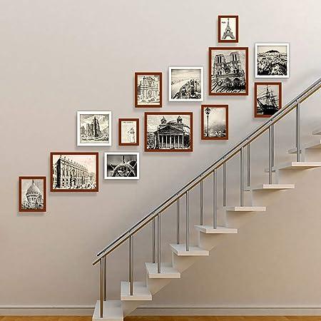 WTT Marco de Fotos Conjunto de Pared Escaleras Collage Marcos de Madera Cuadros Decorativos para Obras de Arte Pasillo Familiar Pasillo, Juegos de 13, A: Amazon.es: Hogar