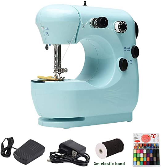 MAOMAOQUEENss Mini Máquina De Coser, Máquina De Coser Portátil, Banda Elástica De 3 M/Caja De Costura, para Tela, Ropa, Tela para Niños, Uso De Viajes En El Hogar, 3 Colores Disponibles,Blue-A: Amazon.es: