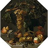 Canvas Prints Of Oil Painting 'Espinosa Juan Bautista Octagonal Still Life With Grape Bunches 1646' 20 x 20 inch / 51 x 51 cm , Polyster Canvas Is For Gifts And Foyer, Kids Room And Kitchen Decoration