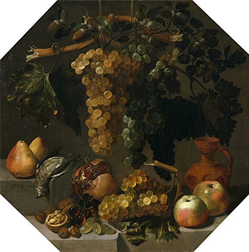 Octagonal Sunflower (The High Quality Polyster Canvas Of Oil Painting 'Espinosa Juan Bautista Octagonal Still Life With Grape Bunches 1646 ' ,size: 10 X 10 Inch / 25 X 26 Cm ,this Imitations Art DecorativePrints On Canvas Is Fit For Nursery Artwork And Home Artwork And Gifts)
