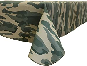 Fairfax Collection Old School CAMO Camouflage Print Vinyl Tablecloth, 52-Inch by 52-Inch