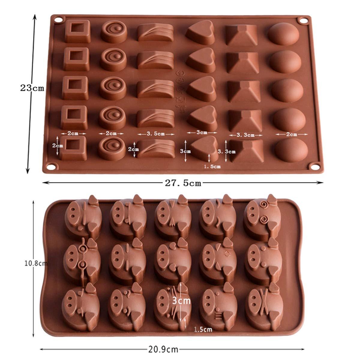 Mengger Molde de Silicona de Chocolate en Forma Bandeja Jaleas Helados para Manualidad Dulces Bombones Café niños juguete 2 Piezas: Amazon.es: Hogar